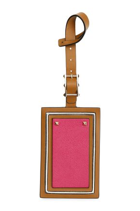 VALENTINO GARAVANI Studded color-block leather luggage tag