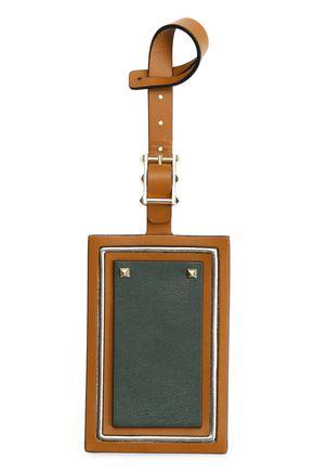 VALENTINO GARAVANI Studded textured and smooth-leather luggage tag