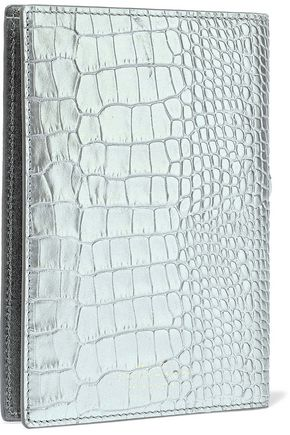 SMYTHSON Mara metallic croc-effect leather passport cover