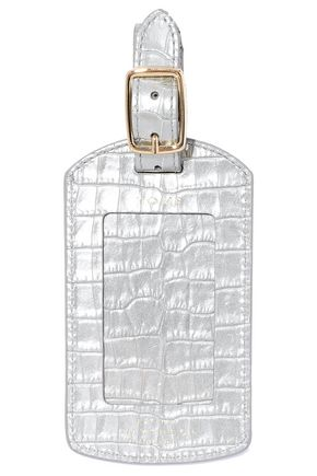 SMYTHSON Mara metallic croc-effect leather luggage tag