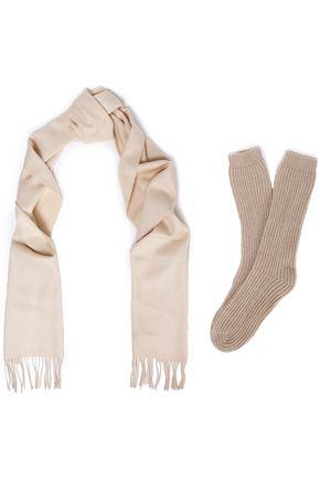 JOHNSTONS OF ELGIN Fringe-trimmed felt scarf and ribbed-knit socks set