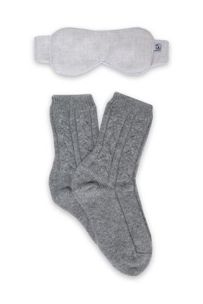 JOHNSTONS OF ELGIN Flannel and cable-knit travel set