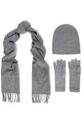JOHNSTONS OF ELGIN Set of Three cashmere scarf, glove and ribbed beanie