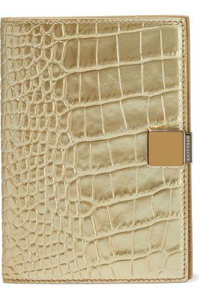 SMYTHSON غطاء باسبور من الجلد بنقش التمساح لون ميتاليك