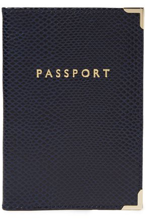 ASPINAL OF LONDON Printed lizard-effect leather passport cover