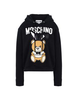 Playboy Bear Hooded Cotton Sweatshirt, Black