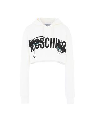 Cropped Printed Stretch-Cotton Jersey Hoodie in White