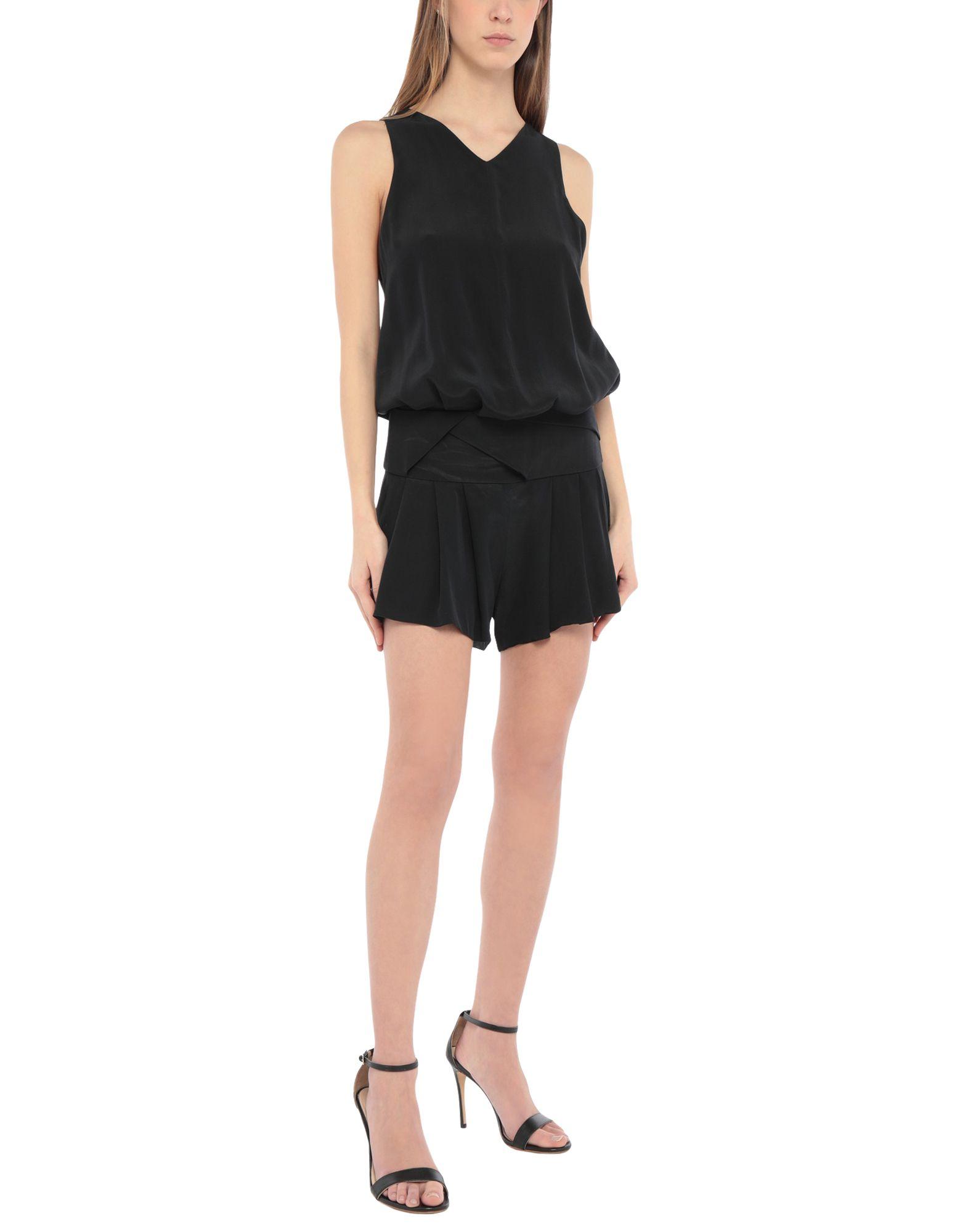 NEIL BARRETT Jumpsuits. crêpe, v-neckline, sleeveless, no appliqués, no pockets, zip closure, side closure, solid color. 100% Silk