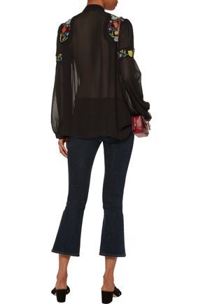 ANNA SUI Embroidered chiffon blouse
