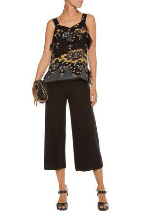 ANNA SUI Ruffled printed silk-chiffon top