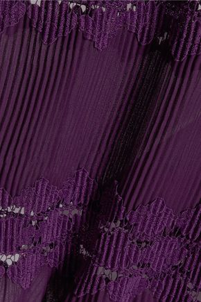 ANNA SUI Lace-paneled plissé-chiffon top