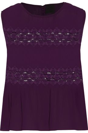 ANNA SUI Lace-paneled pleated chiffon top