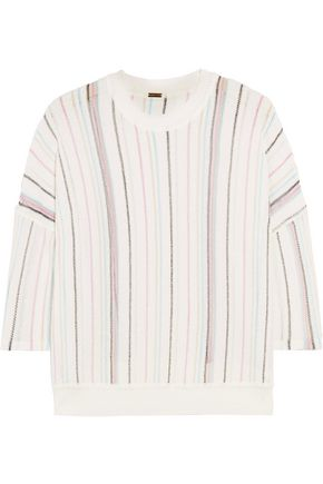 ADAM LIPPES Striped open-knit cotton-blend top