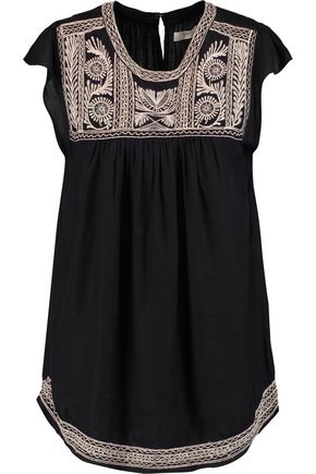 JOIE Rankin embroidered jersey top