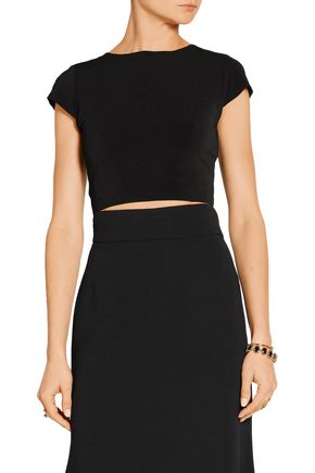 ALICE + OLIVIA Monika cropped cutout stretch-jersey top