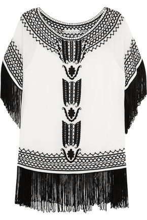 ALICE+OLIVIA Natalie fringed embroidered silk-georgette top