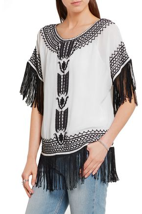 ALICE + OLIVIA Natalie fringed embroidered silk-georgette top