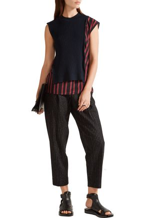 3.1 PHILLIP LIM Ribbed wool-blend and silk crepe de chine top