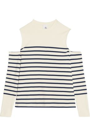 IRIS AND INK Cold-shoulder striped cotton-jersey top