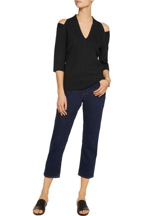 IRIS AND INK Cold-shoulder wool top