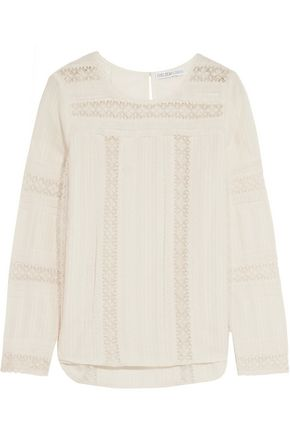 CHELSEA FLOWER Lace and crochet-trimmed cotton-gauze top