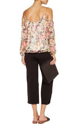 ELIZABETH AND JAMES Maylin off-the-shoulder floral-print silk-chiffon top