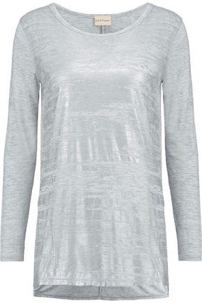 DKNY Printed slub jersey top