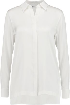 DKNY Fringed silk-blend crepe top