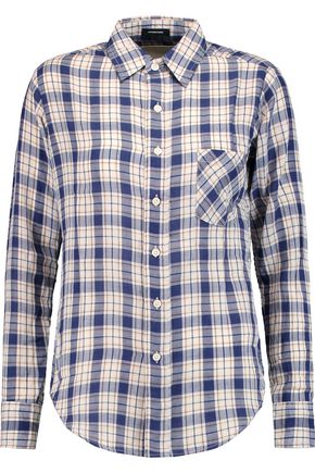 R13 Check cotton and wool-blend shirt