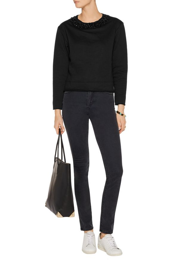 Bead-embellished cotton-blend jersey sweatshirt   MICHAEL MICHAEL KORS    Sale up to 70% off   THE OUTNET