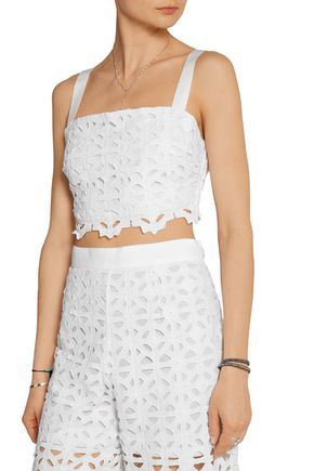MIGUELINA Hazel cropped crocheted cotton top