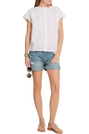 M.I.H JEANS Open-back broderie anglaise cotton top