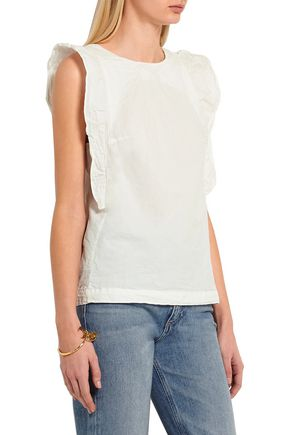 M.I.H JEANS Caval ruffled crinkled cotton-poplin top