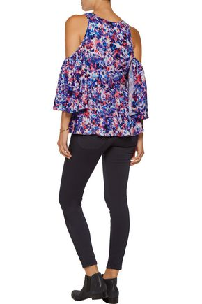 REBECCA MINKOFF Gabby cutout ruffled floral-print crepe de chine blouse