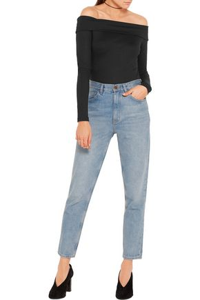 TIBI Off-the-shoulder wool-jersey bodysuit