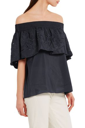 TIBI Carmen off-the-shoulder embroidered cotton and silk-blend top
