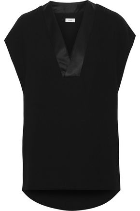 VINCE. Satin-trimmed crepe top
