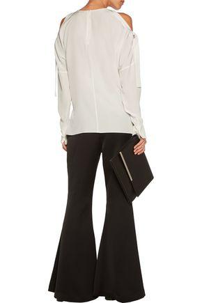 TIBI Cutout silk crepe de chine blouse