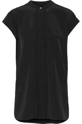 VINCE. Frayed silk top