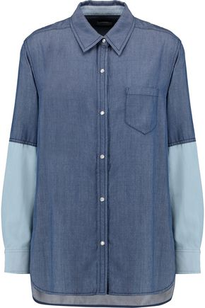 VINCE. Two-tone chambray shirt