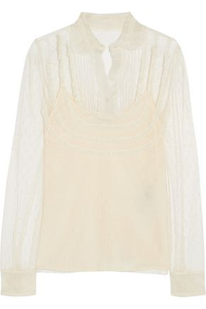 REDValentino Lace-trimmed point d'esprit tulle blouse