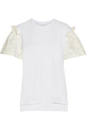 MOTHER OF PEARL Rex ruffled devoré cotton-paneled cotton-jersey top