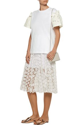 MOTHER OF PEARL Rex ruffled devoré cotton-paneled cotton-jersey top