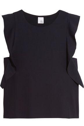 IRIS & INK Ruffle-trimmed stretch-jersey top