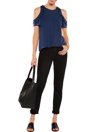 IRIS AND INK Cold-shoulder ruffled jersey top