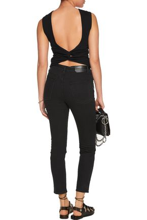 T by ALEXANDER WANG Twist-back cotton-jersey tank
