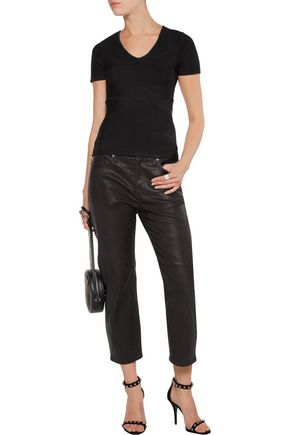 T by ALEXANDER WANG Ribbed stretch-knit top