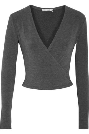 ALICE + OLIVIA Elyssa cropped wrap-effect stretch-knit top