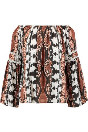 TART Off-the-shoulder embroidered printed voile blouse