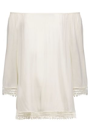 TART Lilibeth off-the-shoulder lace-trimmed voile top